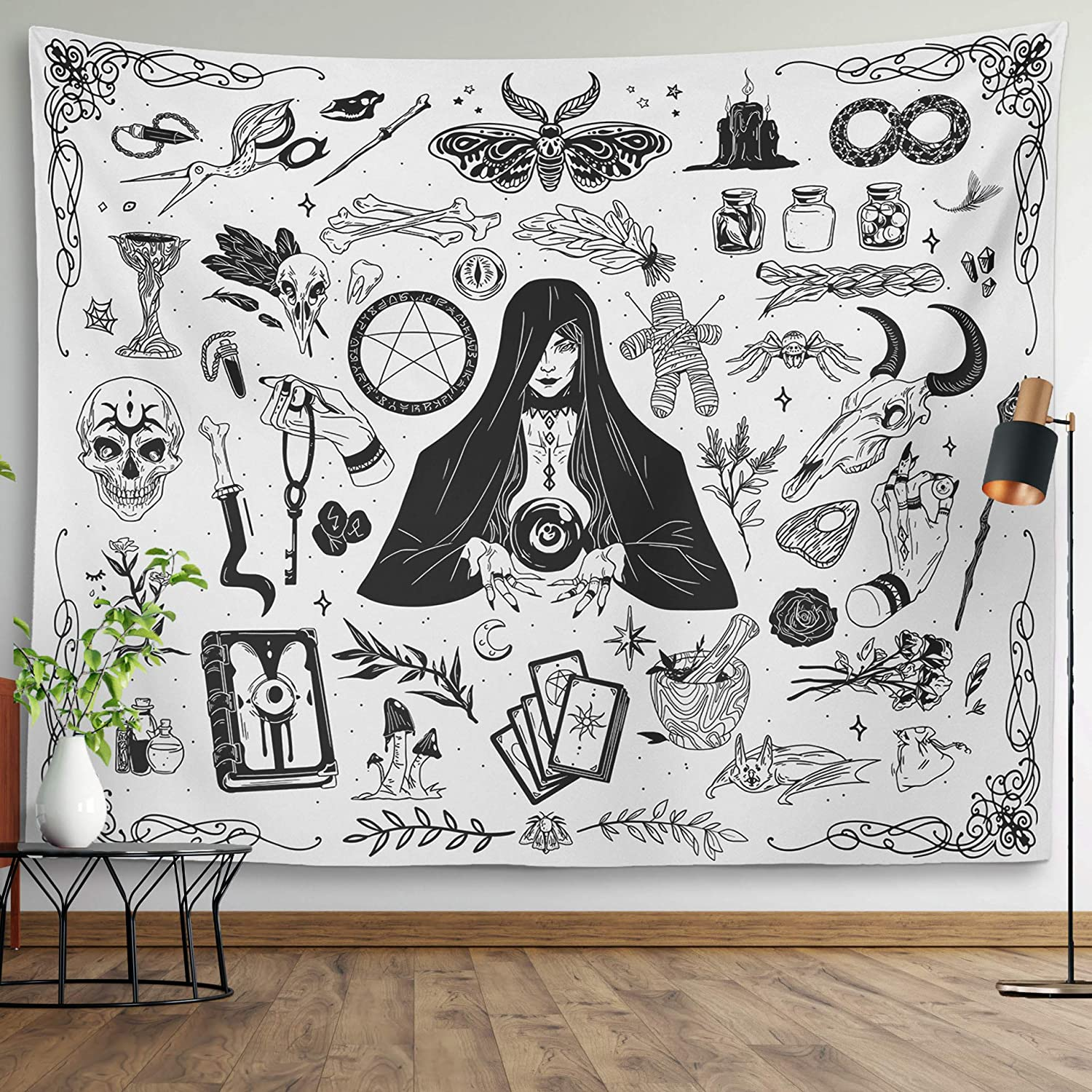 Gothic Witchy Tapestry Witchcraft Magic Moon Skulls Spells Witch Kit Black and White Wall Hanging Goth Wall Decor Witch Tapestry (White, 51