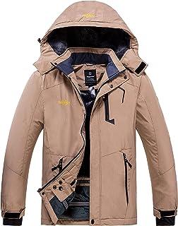 Wantdo Men's Winter Waterproof Hooded Fleece Ski Jacket Windproof Rain Parka