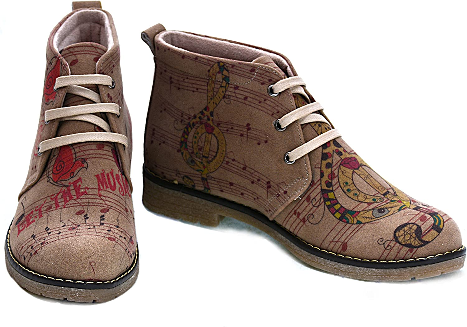 GOBY Womens shoes  Printed Music Lace-Up Ankle Boots HP106