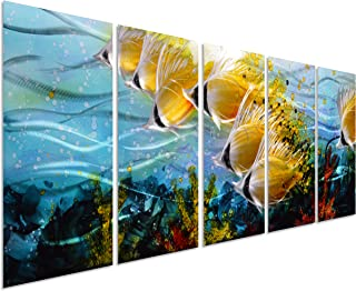 Blue Tropical School of Fish Metal Wall Art, Large Metal Wall Art in Modern Ocean Design, 3D Wall Art for Modern and Contemporary Décor, 5-Panels, 24