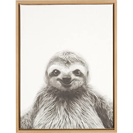 Amazon Com Kate And Laurel Sylvie Sloth Black And White Portrait Framed Canvas Wall Art By Simon Te Tai 18x24 Natural Home Kitchen