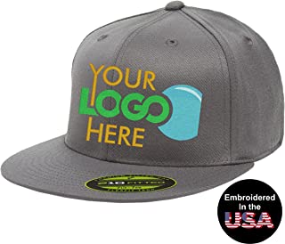 Personalized Flexfit 210 Cap. Custom Logo Hat. Embroidered. Fitted Flat Bill