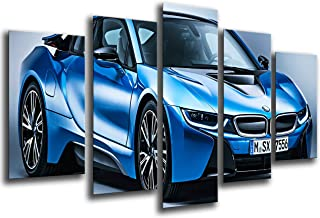 Multi Wood Printings Art Print Box Framed Picture Wall Hanging - (Total Size: 65 x 24.4 in), Sports Car, BMW i8, Blue - Framed and Ready to Hang - ref. 26551
