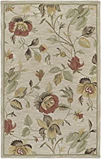 Bombay Home Lawrence Oatmeal Floral Hand-tufted Transitional Wool Rug (3' x 5') - 3' x 5'