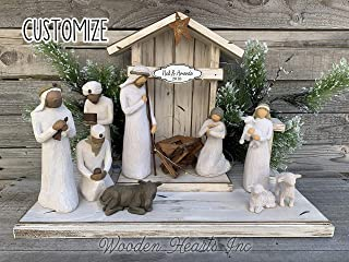 STABLE for NATIVITY *Creche only (Willow Tree figures not included) Distressed REAL Wood *Green White Brown *NO ASSEMBLY *Handmade in USA *Lights Personalized Sign Angel Stand Baby Manger