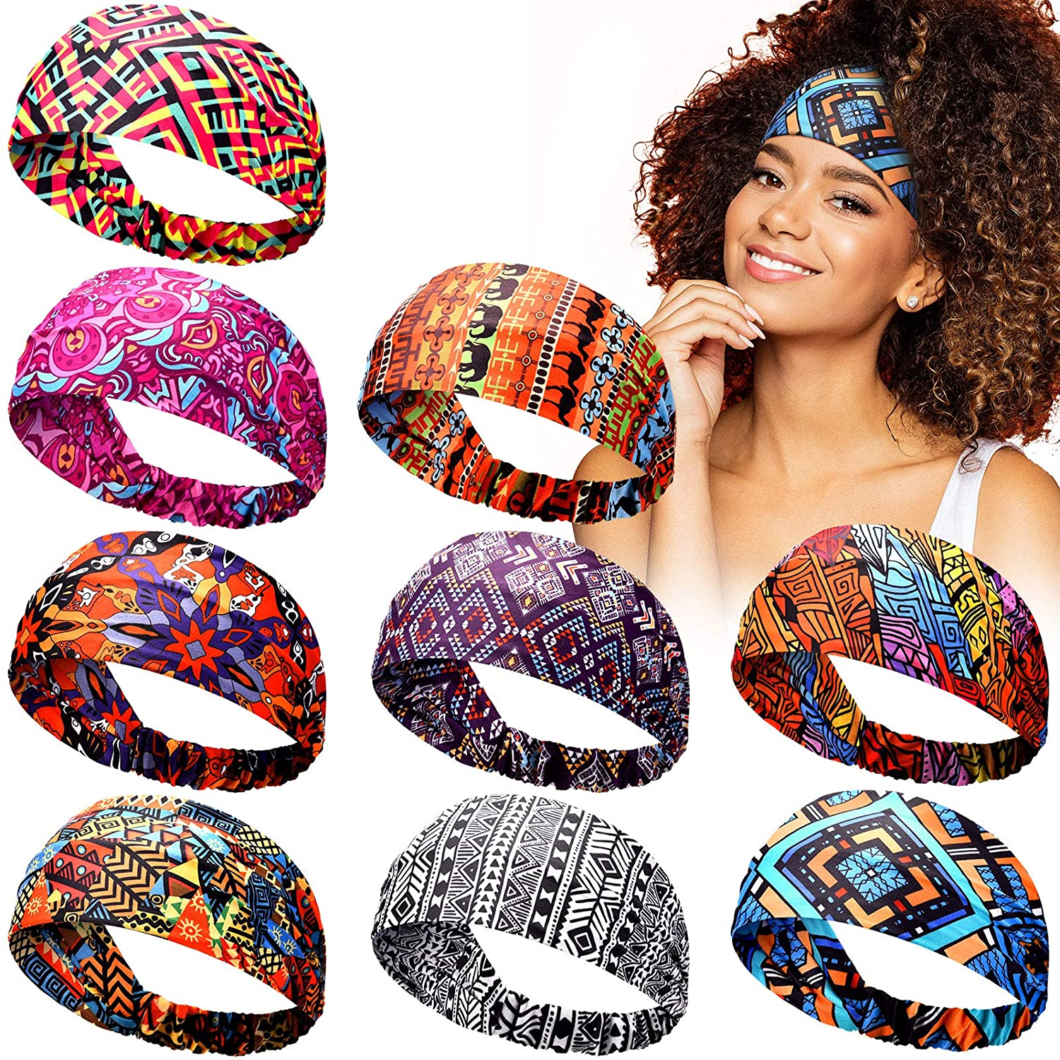 9 Pieces African Headbands Knotted Wide Hair Cheap SALE Start Hairbands Afr Bands Now free shipping