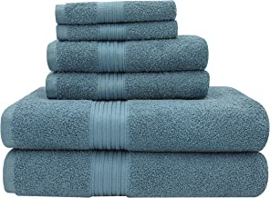 Baltic Linen Majestic Heavy Weight Cotton Towels, 2 Bath Towels, 2 Hand Towels, 2 Washcloths, Britany Blue 6 Piece Set