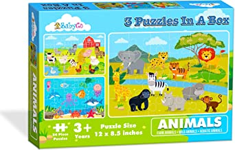 BabyGo Toys 3 Puzzles in a Box Animals Jigsaw Game for Kids (Farm Animals, Wild Animals, Aquatic Animals).