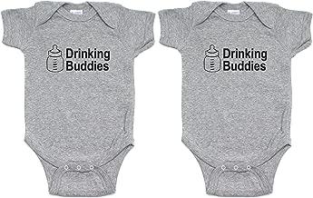 Milk Drinking Buddies Twin Set Short Sleeve Infant Bodysuit