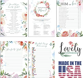 Lovely Celebrations: Bridal Shower Games Pack: What's on your phone, Him or Her, How well do you know the Bride?, Advice to the Bride, Advice Cards, Emoji Games, 50 each, 250 pieces total, decorations
