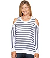 Tribal - Long Sleeve Cold Shoulder Stripe Top