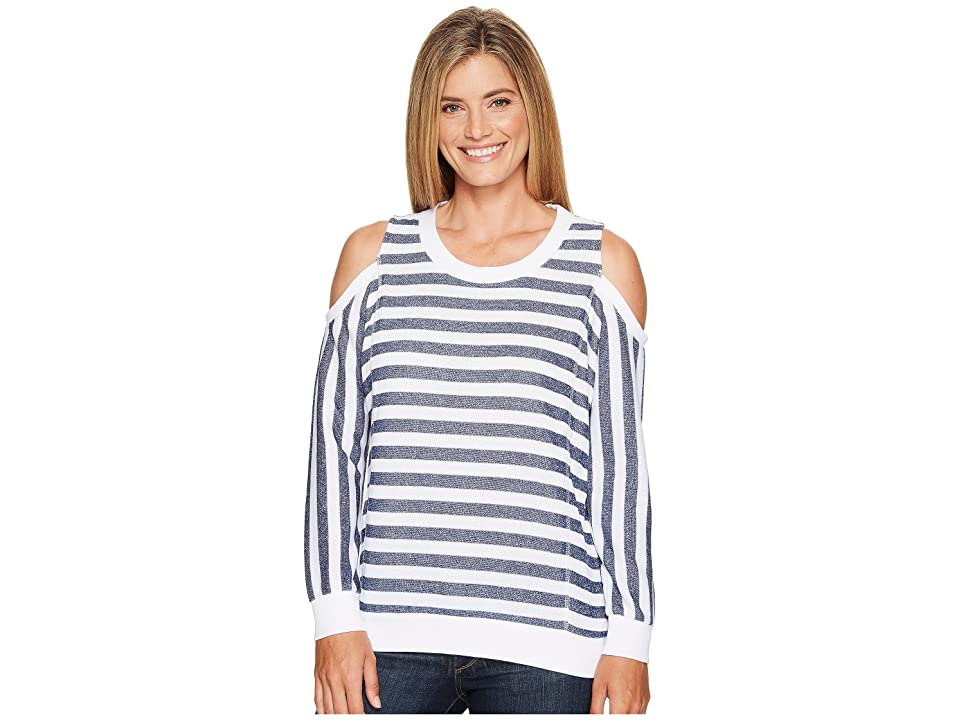 Tribal Long Sleeve Cold Shoulder Stripe Top (Eclipse) Women