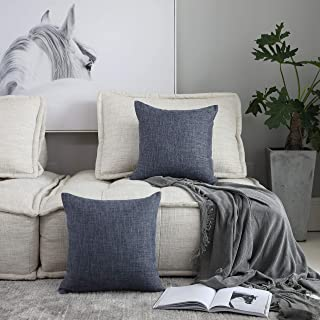 Kevin Textile Decor Lined Linen Pillow Case Throw Pillow Cover Sham Cushion Case Textured for Floor, 18x18 inch, Dark Grey, Set of 2