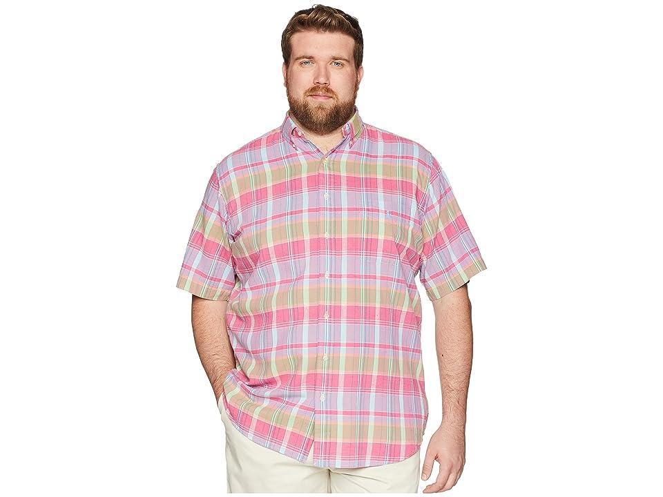Polo Ralph Lauren Big Tall Madras Short Sleeve Sport Shirt (Magenta/Blue) Men