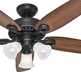 Hunter Fan 42 inch Traditional Snow White Ceiling Fan with Three-Light Fitter and Swirled Marble Glass, 5 Blade (Renewed) (New Bronze)