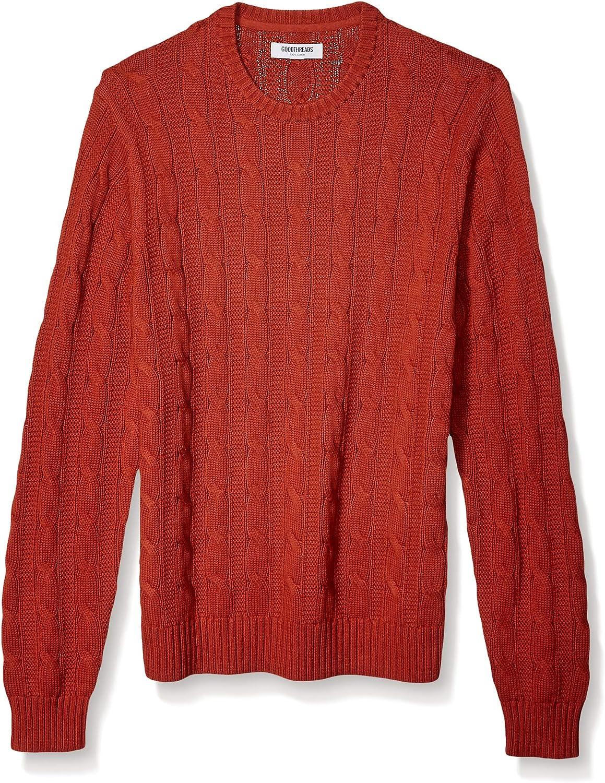 in morbido cotone con punto a treccia Goodthreads maglione a girocollo da uomo Marchio