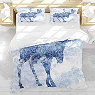 LAMANNT Duvet Cover Set,Moose Blue Pattern Pine Needles Spruce Tree with Antlers Deer Family Snow Winter Horns,3 Pcs Decor Bedding Set,1 Duvet Cover with 2 Pillow Shams,King Size