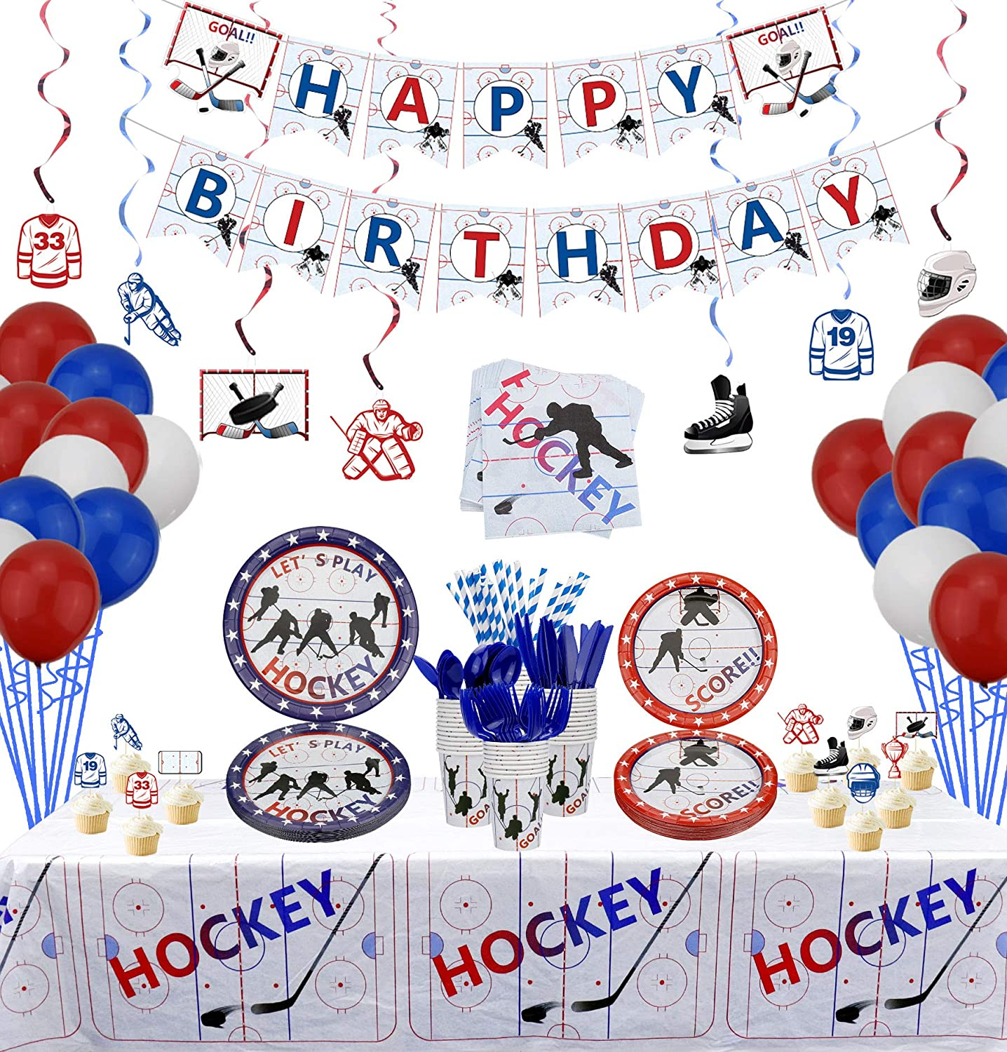 PIXHOTUL Hockey Party Supplies - Pack Ice Over item handling ☆ Tampa Mall Themed fo