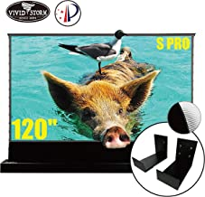 VIVIDSTORM S PRO Ultra Short Throw Laser Projector Screen,Black Housing Motorized Floor Rising Screen 120 inch Ambient Light Rejecting Screen with a Set of Black Wall Brackets VSDSTUST120H
