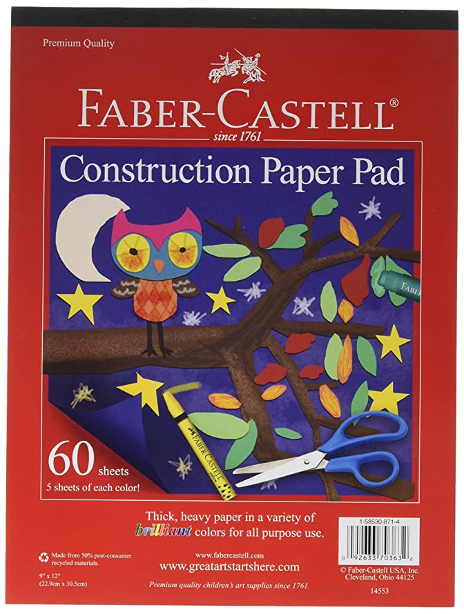 Faber-Castell Construction Paper Pad - Multi-Colored Craft Paper (9