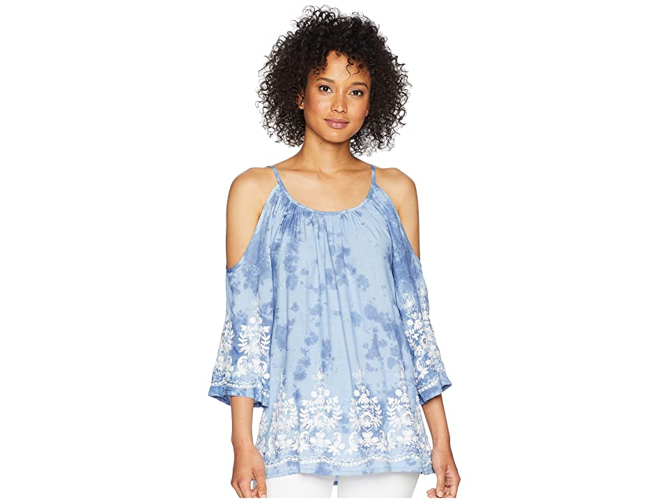 Karen Kane Embroidered Cold Shoulder Top (Tie-Dye) Women