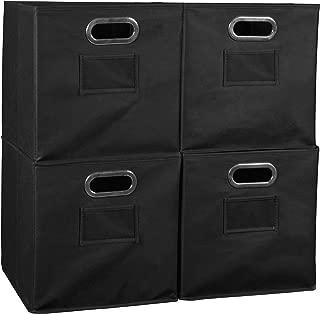 Set of 4 Cubo Foldable Fabric Bins- Black