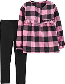 Girls' 2T-4T Long Sleeve Plaid Top and Jeggings Set