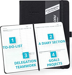 Clearance Sale - Action Day Academic Planner 2019-2020 - #1 Time Management Design & Get Things Done, Daily Weekly Monthly Yearly Journal, Agenda, Hardcover, Pocket, Pen Loop (7x9, Black)