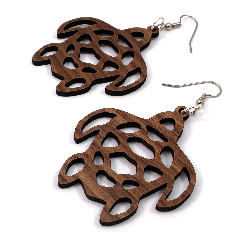 Sea Turtle Earrings made depot of Sustainable Seasonal Wrap Introduction Large - Wood Walnut Wo