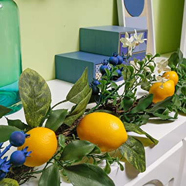 Valery Madelyn 6 Feet/72 Inch Spring Fruit Garland with Artificial Lemons, Blueberry and Green Leaves, Summer Yellow Garland