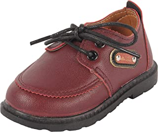 Yellow Bee Maroon Lace-Up Party Shoes for Boys
