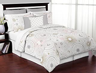 Sweet Jojo Designs 3-Piece Blush Pink, Gold, Grey and White Star and Moon Celestial Girl Full / Queen Kid Childrens Bedding Comforter Set
