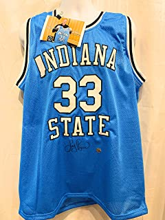 Larry Bird Indiana State Signed Autograph Rare Custom Jersey Front Signature Bird Hologram Certified