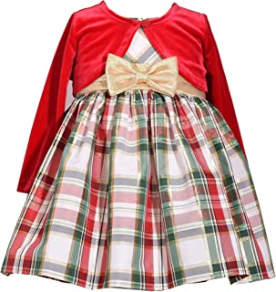 Baby Girl's Holiday Christmas Dress - Plaid with Red Velvet Cardigan