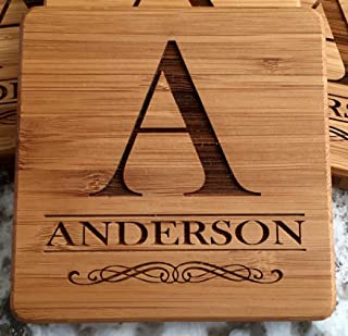 Personalized Wedding Gifts and Bridal Shower Gifts - Monogram Wood Coasters for Drinks (1 Coaster, Anderson Design)