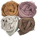 MANSHU 4PCS Women Soft Cotton Hemp Scarf Shawl