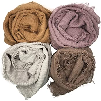 MANSHU 4 PCS Women Soft Scarf Shawl Long Scarf, Scarf and Wrap, Big Head Scarf