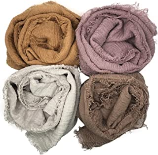 MANSHU 4PCS Women Soft Cotton Hemp Scarf Shawl Long Scarves, Scarf and Wrap, Big Head Scarves.