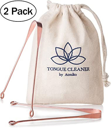 Tongue Scraper, Ayurvedic Antimicrobial Tongue Cleaner (Pack of 2) made of Pure Copper for Daily Oral Dental Hygiene Fresh Breath and Health + Cotton Pouch