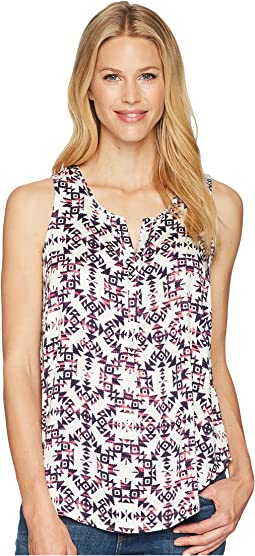 Tribal Sleeveless Henley Blouse