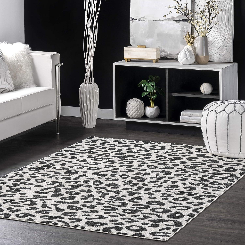 nuLOOM Print Leopard Area Rug 5' Grey Limited price Dark Manufacturer regenerated product 5