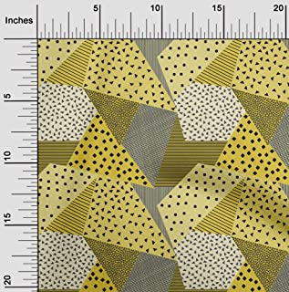 oneOone Viscose Jersey Yellow Fabric Dot,Check & Triangle Geometric Sewing Material Print Fabric by The Meter 60 Inch Wide