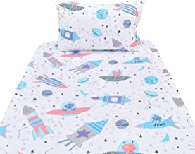 J-pinno Planet Spaceship Rocket Twin Sheet Set for Kids Boy Children,100% Cotton, Flat Sheet + Fitted Sheet + Pillowcase Bedding Set