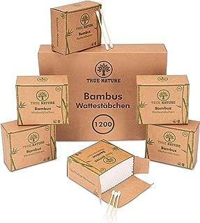 TRUE NATURE® [1200] bambusowe pałeczki higieniczne – certyfikat dermatologiczny – bez plastiku – tipsy Q bez plastiku – Co...