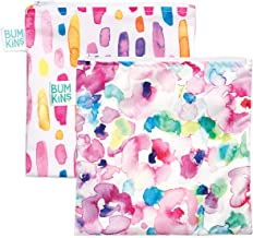 Bumkins Sandwich Bag/Snack Bag Set, Watercolor & Brushstrokes, 7 X 7 Inch (Pack of 2)