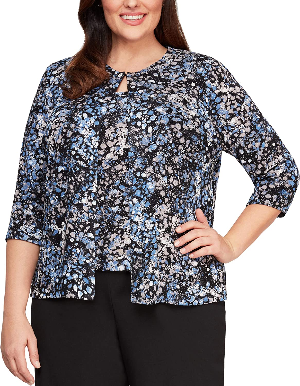 Alex Evenings Women's security Plus Size Glitter Neck Knit Twinset Jewel New arrival