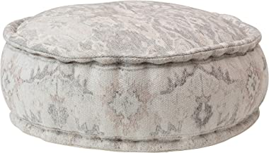 Creative Co-op Stonewashed Cotton Printed, Multi Color Pouf