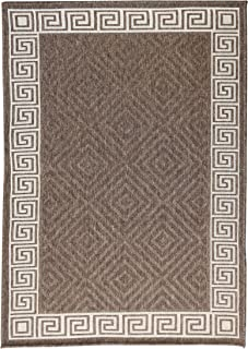 Furnish my Place Contemporary Geometric Rug, Indoor and Outdoor Area Rug, Easy to Clean, UV Protected and Fade Resistant 1113, Brown