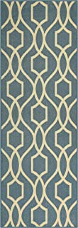 Maples Rugs 2 x 6 Non Skid Hallway Entry Rugs Runners [Made in USA] for Kitchen and Entryway, Blue