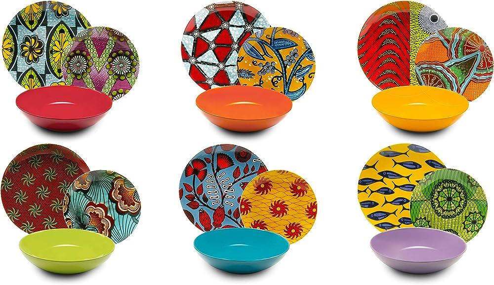 Excelsa afrika ,  servizio di piatti da 18 pezzi, in  porcellana e ceramica  multicolore 62484
